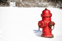 Fire hydrant in snow.