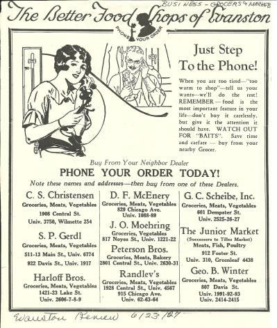 Advertisement, 1920s, phoning for groceries