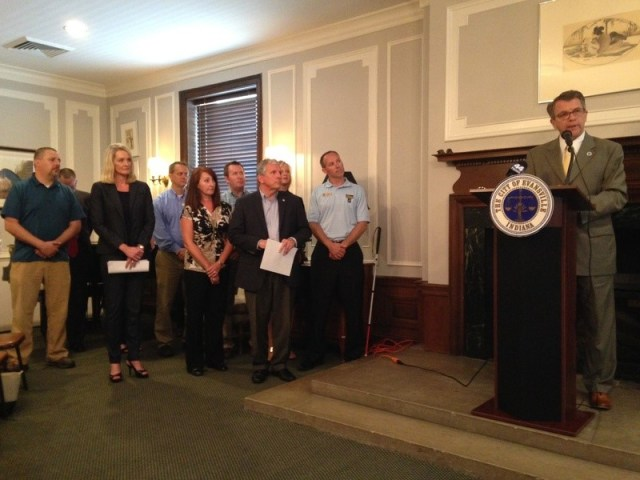 Evansville Mayor Lloyd Winnecke talked about the impact of the funding shift on Monday. (WIKY)