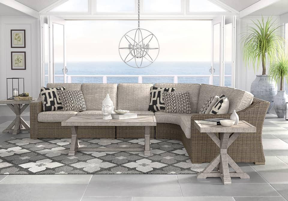 Beachcroft Beige 3Pc Patio Set | Evansville Overstock ... on Beachcroft Beige Outdoor Living Room Set  id=64458