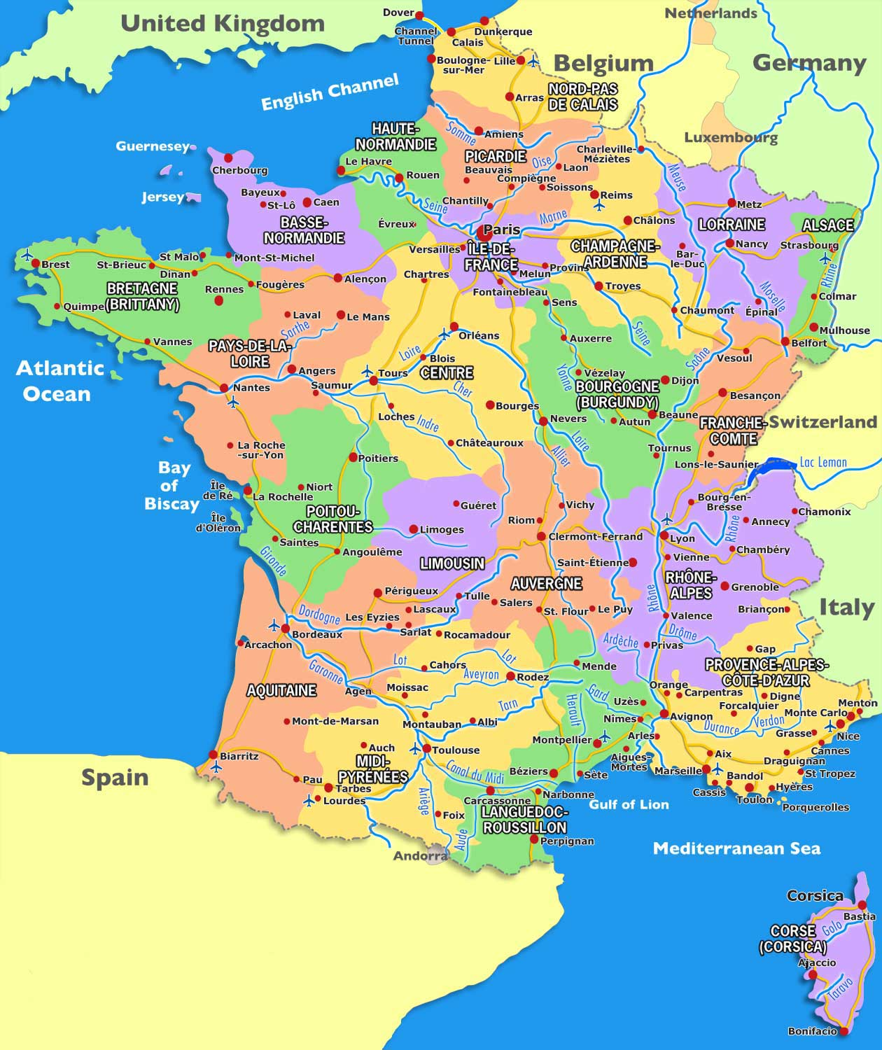 Breaking news and world news from france 24 on business, sports, culture. Map of France » Vacances - Guide Voyage