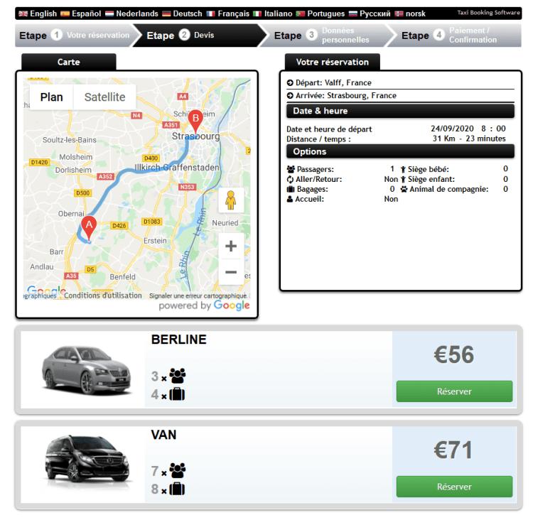 Réservation Module Evasion Cars -Réserver votre chauffeur VTC