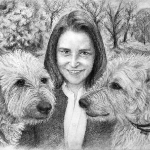 Lady with her Irish wolfhounds