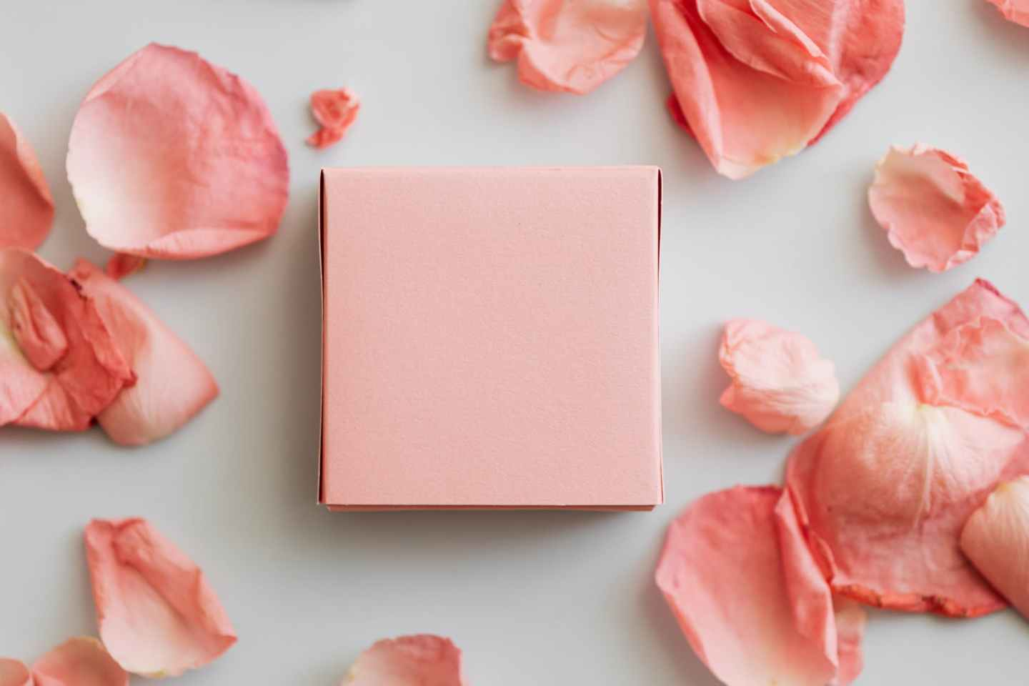 pink gift box and scattered petals