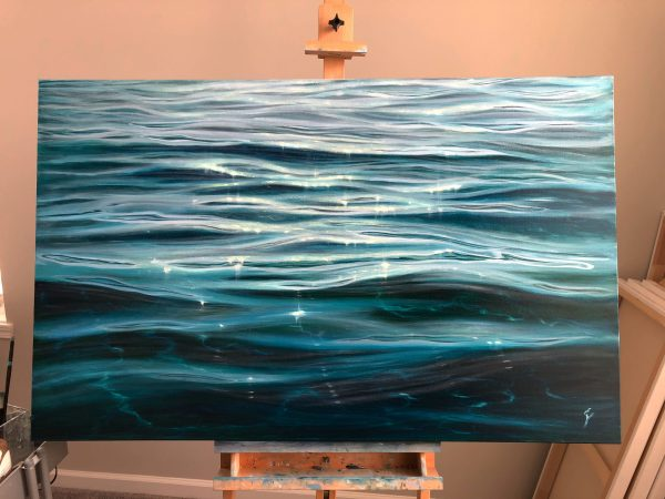 large crystal clear water painting - dancing light