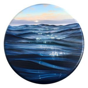 Luminous Waters - ocean waves painting on round canvas