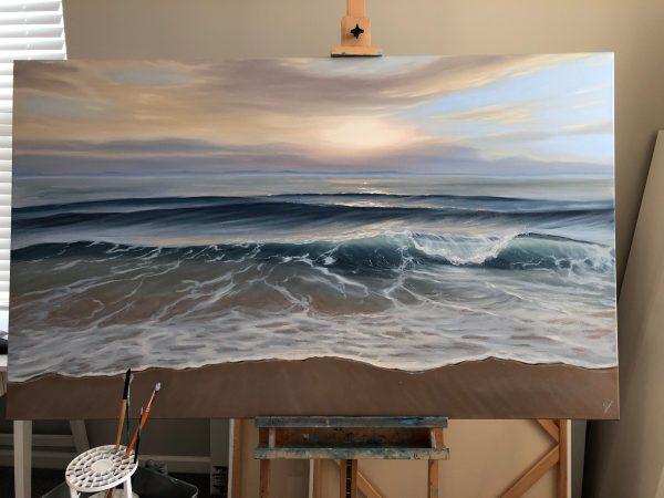Original painting of ocean sunset