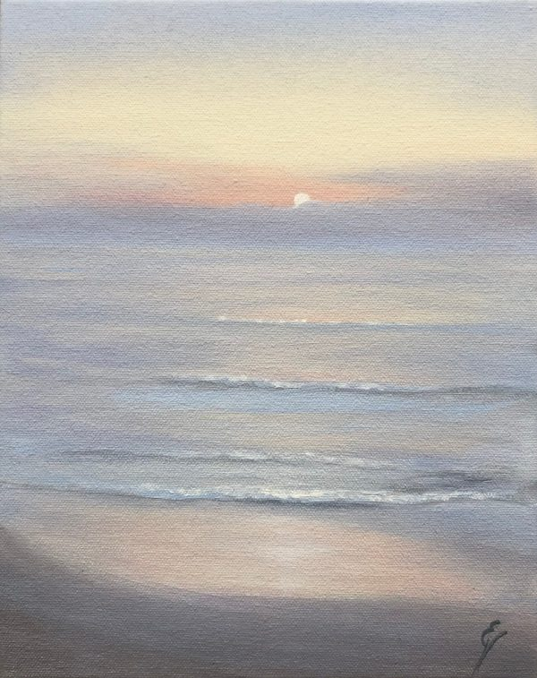 Plein Air Painting of a Sunrise over the Ocean