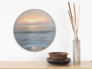Sunset Bliss - Original Coastal Sunset painting on round canvas