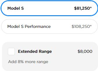 Tesla Model S New Pricing