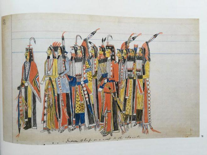 Julian Scott Ledger Artist B Twelve High-Ranking Kiowa Men (1880)