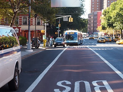 Green Streets - The M15 bus makes a stop in its new bus-only lane on 1st Avenue - photo courtesy EV Grieve