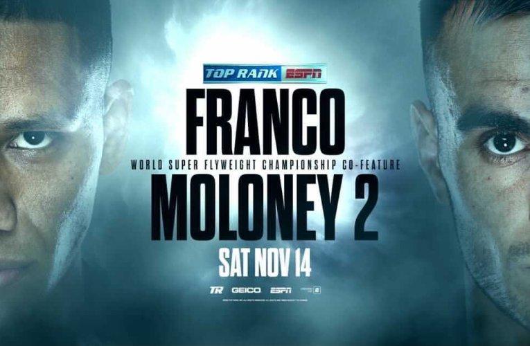 JOSHUA FRANCO VS ANDREW MOLONEY 2: NOVIEMBRE 14 ES LA FECHA