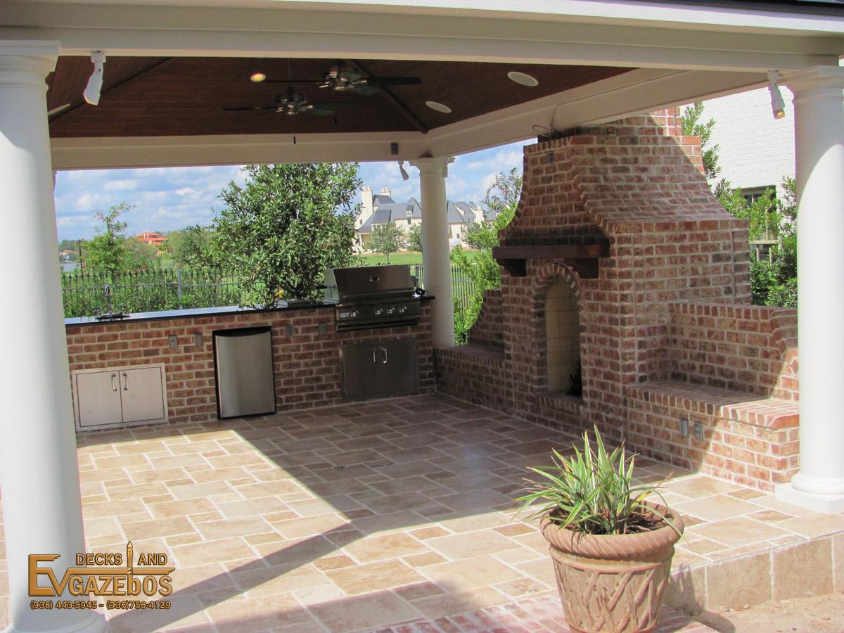 Outdoor Kitchens & Fireplaces - EV Decks & Gazebos on Outdoor Kitchen And Fireplace Ideas id=83007