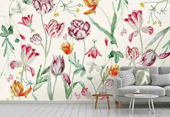 ev dekorasyonu çiçek desenli duvar kağıdı