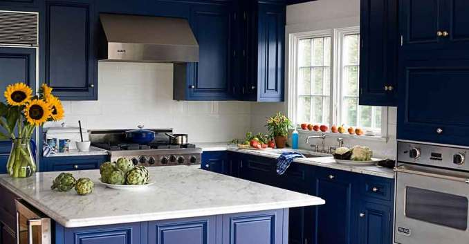 ev dekorasyonu renkli mutfak dolapları