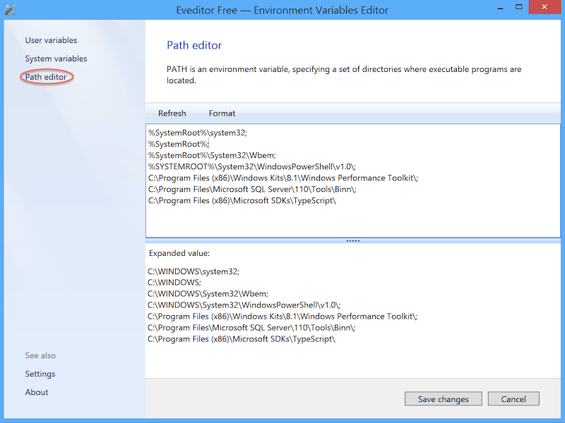 Environment variables editor for Windows