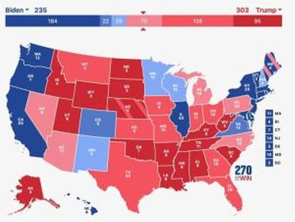 Carte électorale probable sans les fraudes