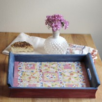 Mod Podge Fabric Tray--create country charm by transform a flea market find.