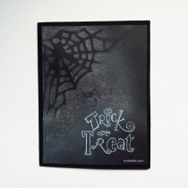 Trick or Treat--DIY Free Halloween card or party invite that features a spider and a web.