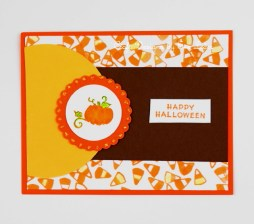 Pumpkin Candy Corn Halloween card that would also make a great party invite. Learn how to make this card with free step-by-step tutorial.