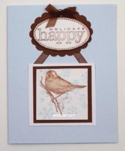 Brown Sparrow Happy Holidays Card