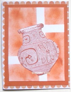 Monochromatic Terracotta Vase Card--Free card making project