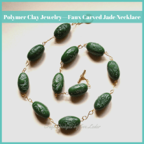Polymer Clay Faux Carved Jade Necklace