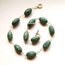 Polymer Clay Jewelry Faux Carved Jade Necklace