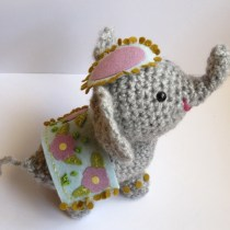 Crochet Amigurumi elephant with upturned trunk