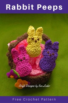 Crochet Rabbit Peeps--Free crochet tutorial. It was inspired by the Easter Rabbit Peeps. This post includes the step-by-step instructions.