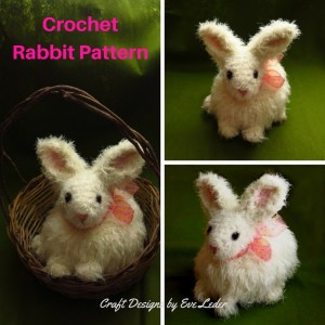 Free crochet rabbit pattern. It is not too late to make the best Easter basket ever. Honey Bunny is a super cute white and furry rabbit that is quick to make because it is crochet with a size 9 crochet hook. She would also make a great gift for anyone who loves rabbits.