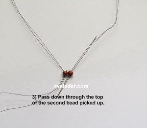 Free Ladder Stitch Tutorial--Step 3--pass down through the second bead picked up