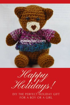 Crochet Bear--a crochet teddy bear is a great DIY holiday gift