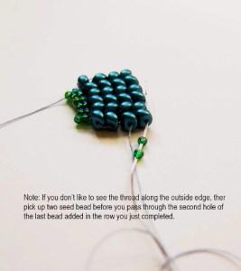 New Two-Hole Es-o Mini Bead Worked in Herringbone Stitch