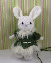 Amigurumi Rabbit Rockette--Learn how you can help design her holiday wardrobe