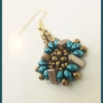 Multi-Hole Beads Earring Pattern--Free tutorial featuring two-hole beads and three hole beads.
