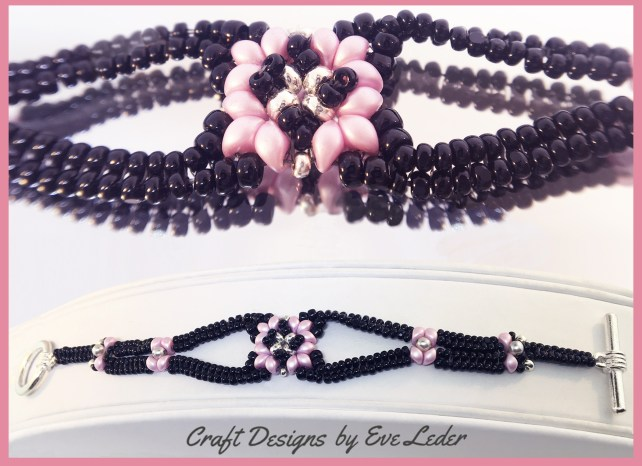 Two-Hole Bead Romance Bracelet--FREE two-hole es-o mini bead bracelet pattern worked in the herringbone stitch.