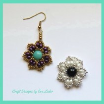 2-Hole Bead Beaded Flower Jewelry-- FREE beading pattern on how to make beaded flower earrings or pendant. Instructions and photos provided.