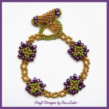 Two-hole bead purple and gold bracelet--FREE 2-hole bead bracelet pattern. Stitches used are: Peyote, Square, and Right Angle Weave.