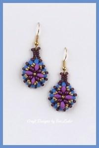 Purple Two Hole Bead Earrings--FREE two hole bead earring pattern.