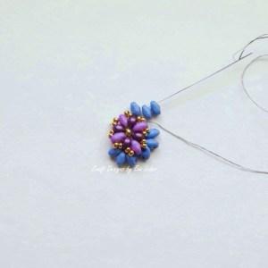 Purple two hole bead earring--Step 5