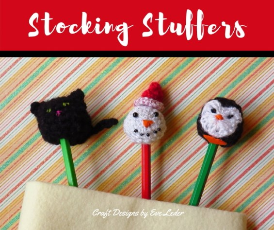 Stocking Stuffers--free crochet pattern for cat, snowman, and penguin.
