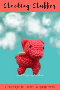 Flying Pig--Free crochet amigurumi pig pattern. This adorable pig was created to be a stocking stuffing, but you could add a string and hang it on the tree.