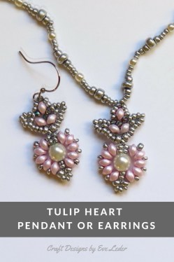 Two Hole Bead Tulip Heart Pendant -- FREE beading pattern. You'll learn how to make a tulip heart pendant that can be easily adapted into earrings.