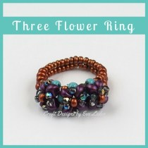 Three Flower Two-Hole Bead Ring — FREE beading pattern — Learn how to use two-hole beads to make a ring that features three flowers.
