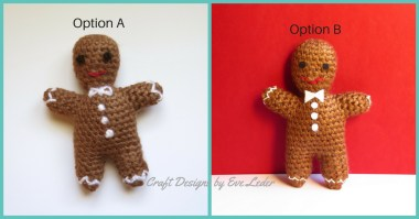 Gingerbread Man — FREE crochet pattern. Two options for embellishment.