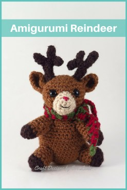 Amigurumi Reindeer — FREE crochet reindeer pattern. This baby reindeer is super sweet. It has a red nose and is wearing a green and red scarf.