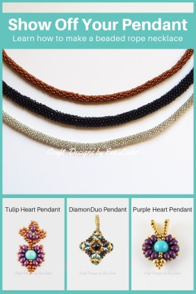 Beaded Rope Necklace — Free beading tutorial using the peyote stitch.