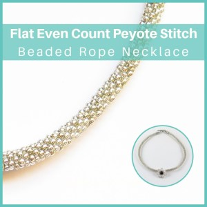 Beaded Rope Necklace—Free beading tutorial using the flat even count peyote stitch
